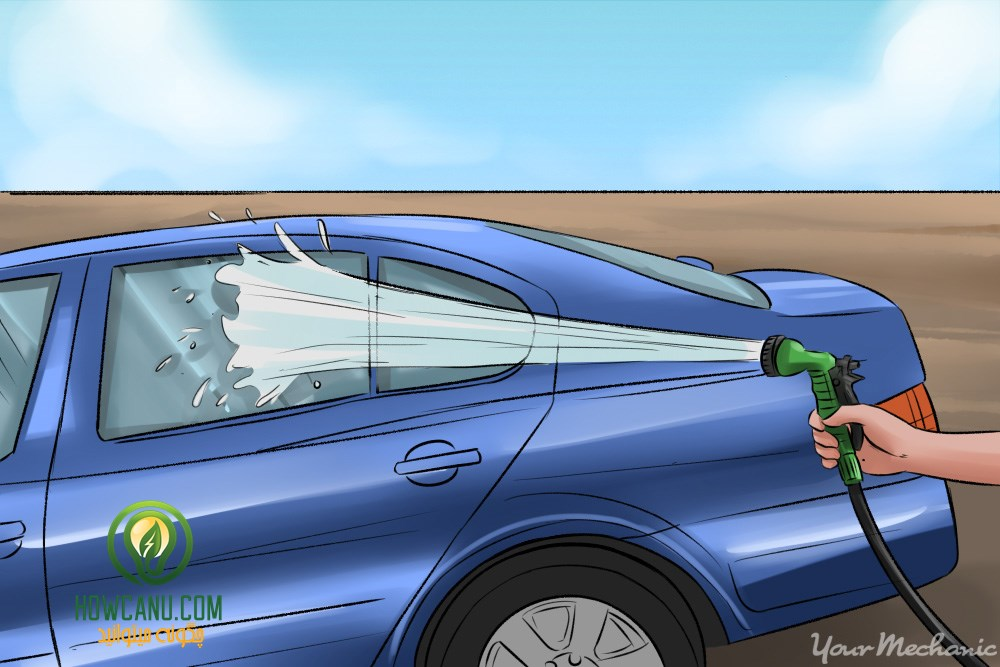 2x - How to Clean Your Car with Home Ingredients - person with hose watering the car