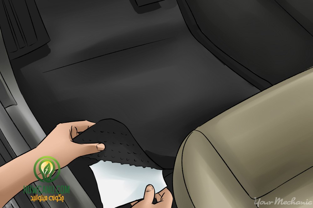 7x - How to Clean Your Car with Home Ingredients - person placing dryer sheet under a floor mat
