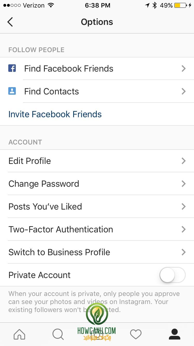 دکمه ی Contact در صفحه شخصی اینستاگرام